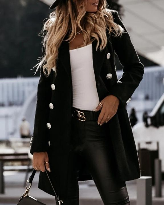 Solid Double Breasted Lapel Neck Coat gallery 2