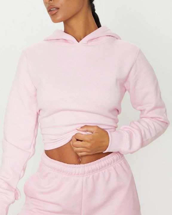 Lace Up Hollow Out Back Crop Hoodie gallery 7