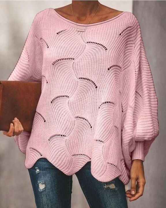 Solid Hollow Out Asymmetrical Hem Boat Neck Sweater gallery 4
