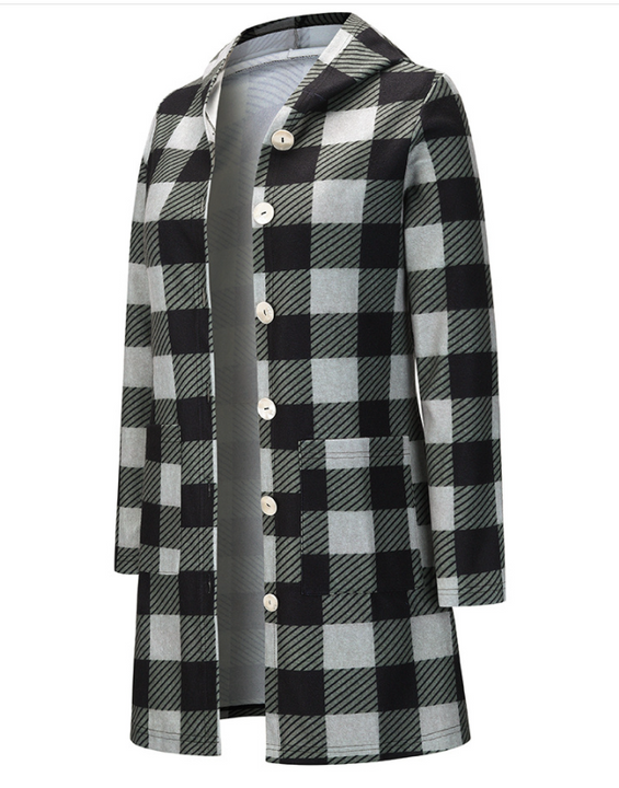 Gingham Button Through Pocket Front Hooded Coat gallery 9