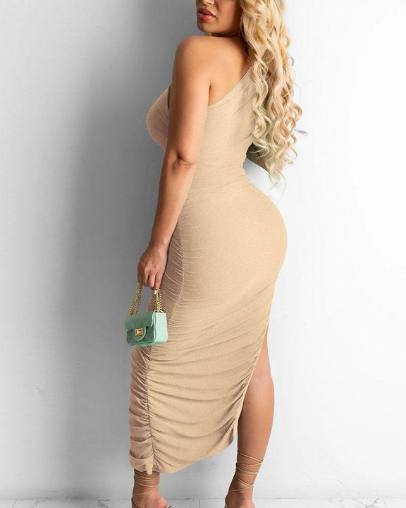 Solid One Shoulder Split Thigh Ruched Dress gallery 19