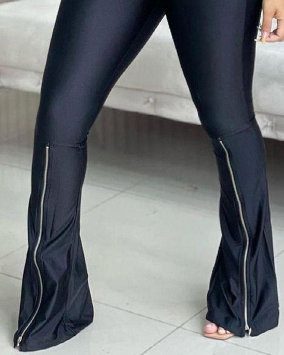 Zipper Design High Waist Flare Pants gallery 2