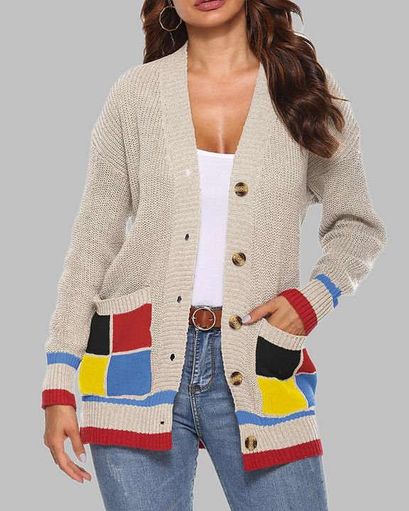 Colorblock Open Front Pocket Detail Button Trim Cardigan gallery 3