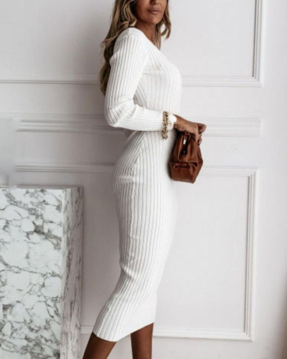 Solid Rib-Knit Form Fitted Maxi Dress gallery 6
