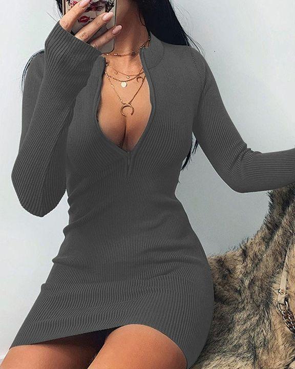 Solid Rib-Knit Zip Up Thumb Hole Mini Dress gallery 10