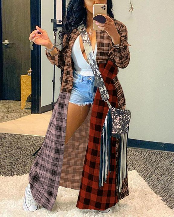 Plaid Print Button Front Long Sleeve Coat gallery 3