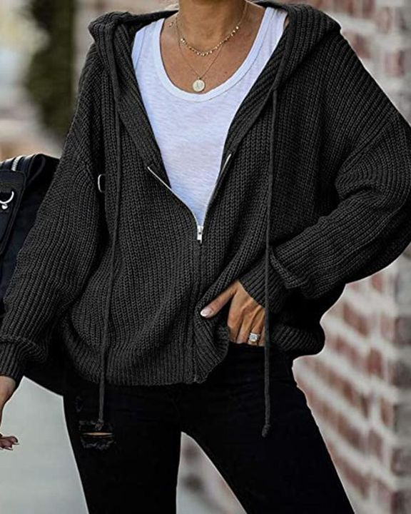 Chunky Knit Zip Front Drawstring Hooded Cardigan gallery 2