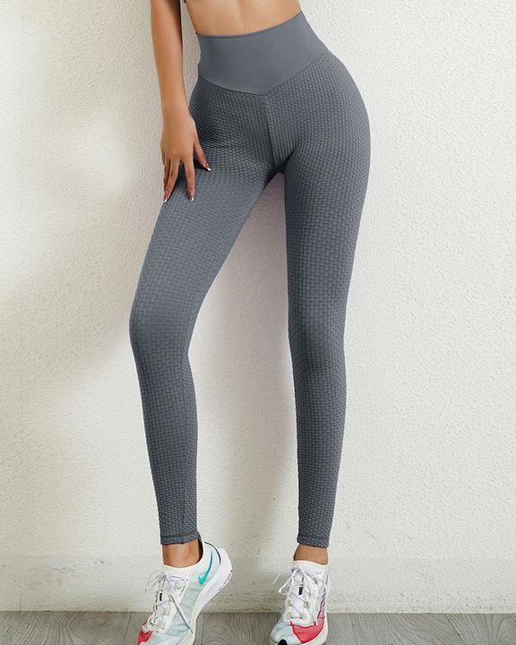 Solid Textured Wide Waistband Scrunch Butt Sports Leggings gallery 18