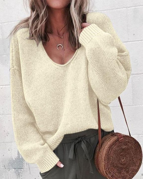 Solid Rib-knit Drop Shoulder Sweater gallery 5