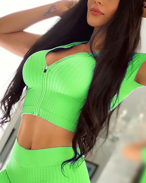 Solid Rib-Knit Zip Decor Form Fitting Sports Crop Top gallery 6