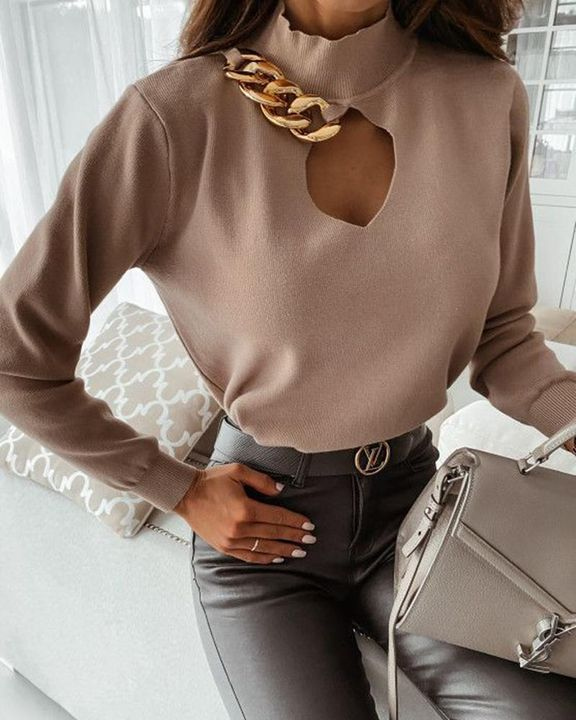 Chain Linked Keyhole Front Stand Collar Sweater gallery 1
