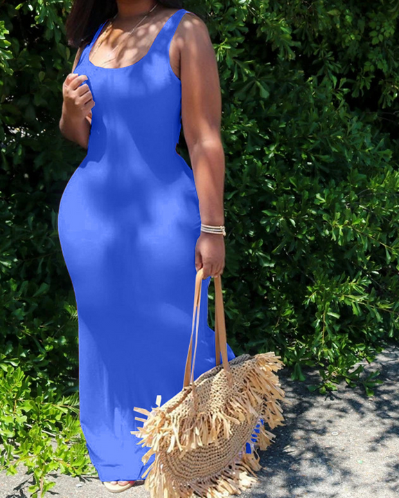 Solid Color Sleeveless Maxi Dress gallery 8
