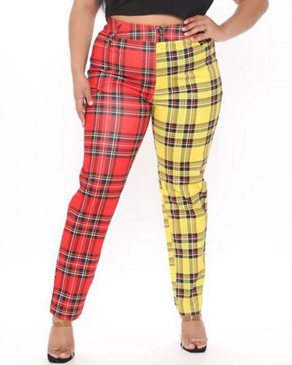 Two Tone Plaid Print High Waist Pants gallery 2