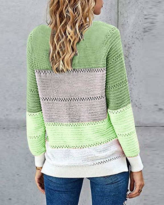 Colorblock Rib-Knit Hollow Out Round Neck Sweater gallery 12