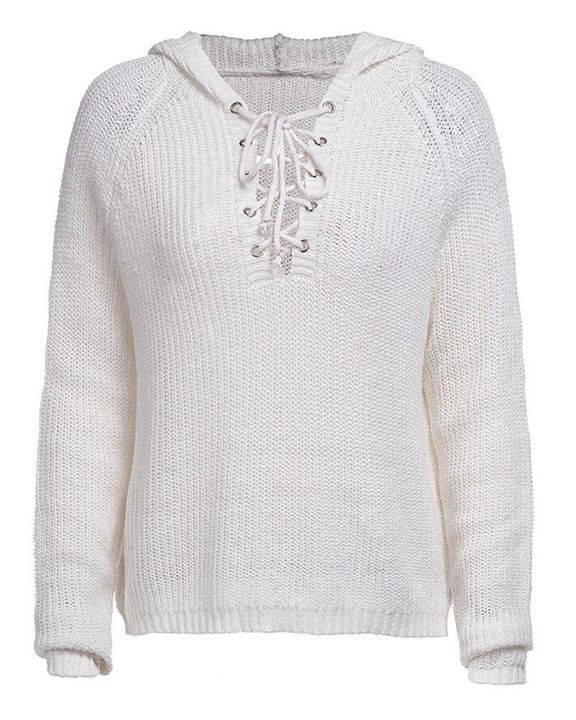 Eyelet Lace Up Ribbed Hooded Sweater gallery 6