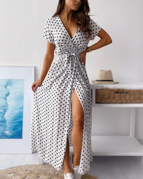 Polka Dot Print Self-Tie Split Overlap Maxi Dress gallery 5