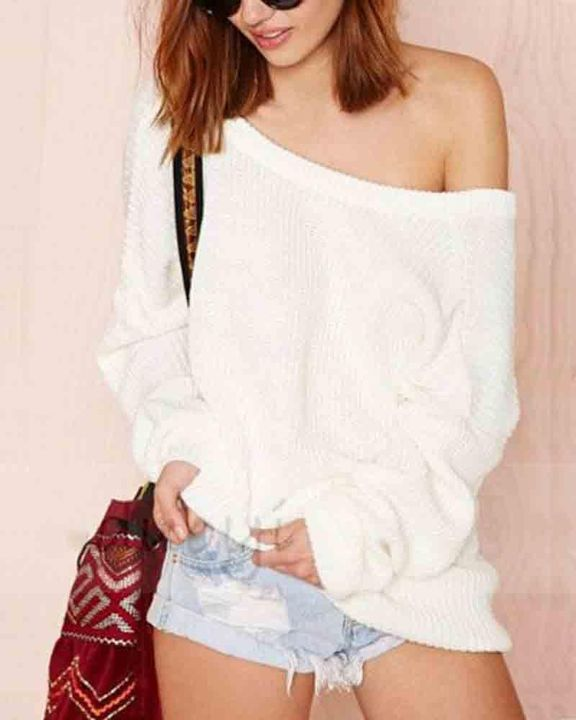 Chunky Knit Cutout Back Drop Shoulder Sweater gallery 9