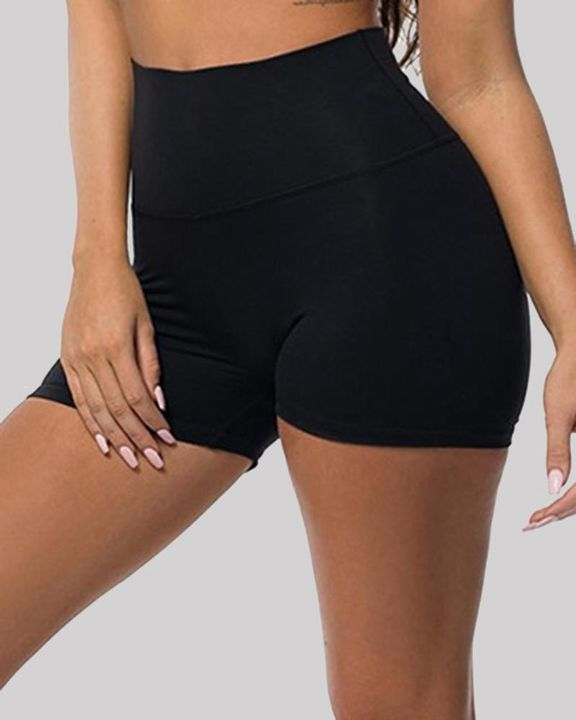 Solid Ruched Butt Lifting High Waist Sports Short gallery 9