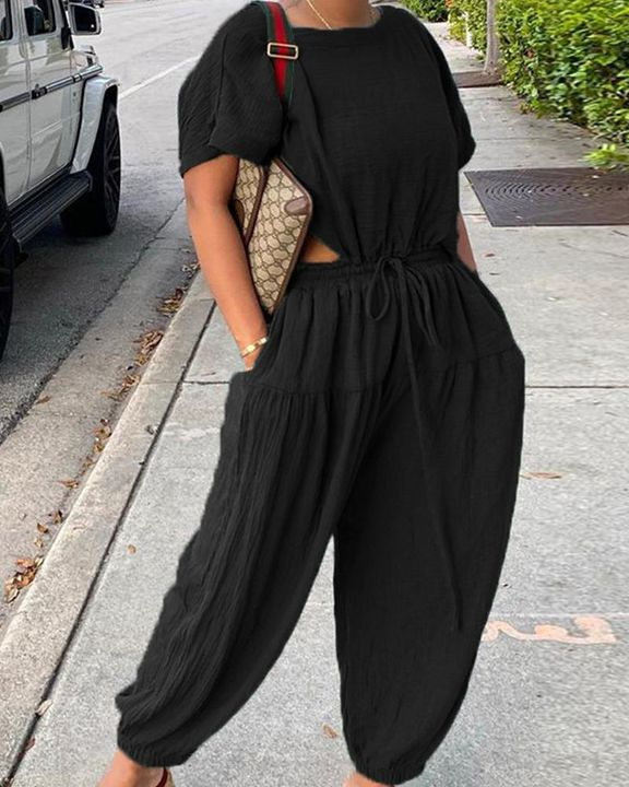 Solid Ruched Drawstring Waist Cutout Top & Pants Set gallery 2