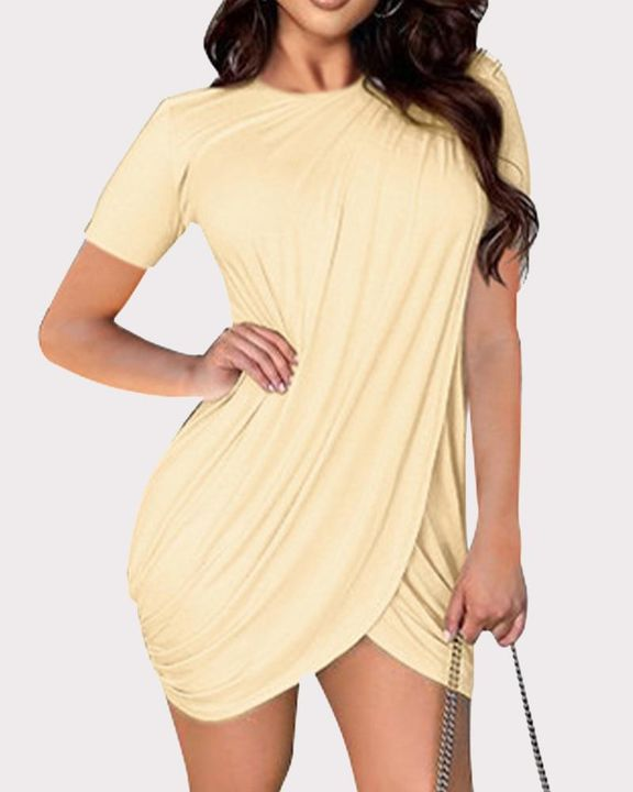 Solid Ruched Wrap Asymmetrical Mini Dress gallery 9