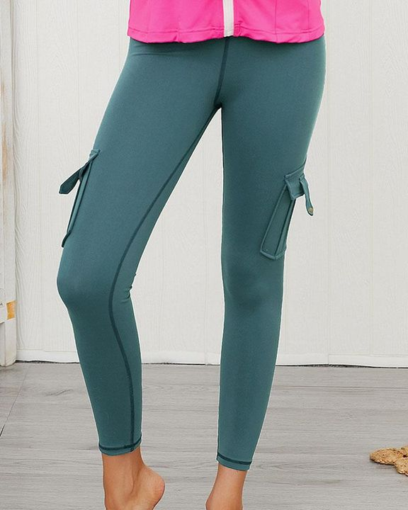 Flap Pocket Butt Lifting Top Stitching Sports Leggings gallery 7