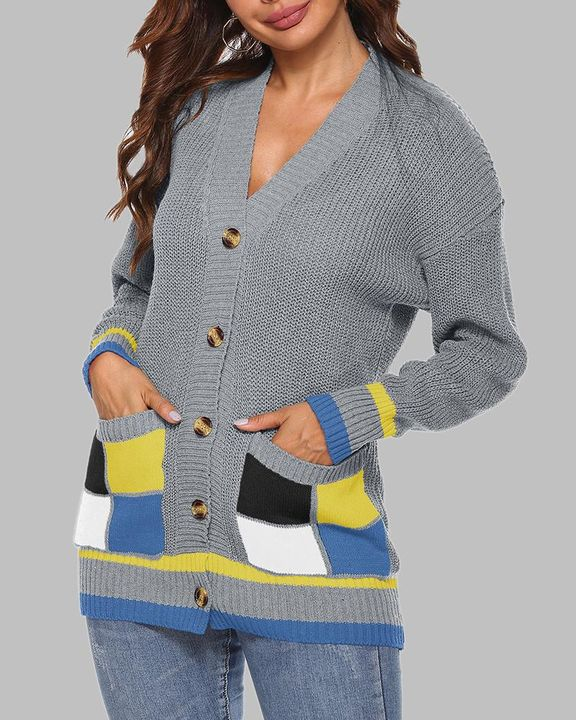 Colorblock Open Front Pocket Detail Button Trim Cardigan gallery 11
