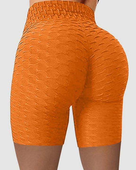 Solid Textured Wide Waistband Butt Lifting Sports Shorts gallery 7