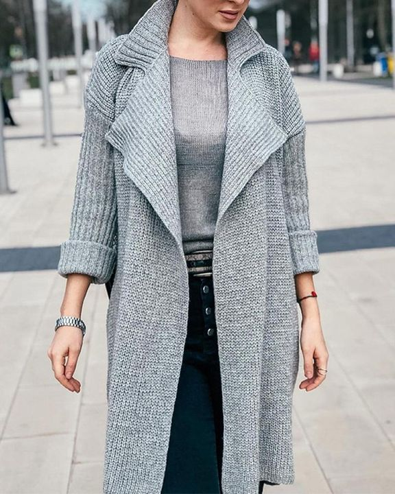 Solid Rib-Knit Open Front Lapel Neck Cardigan gallery 4