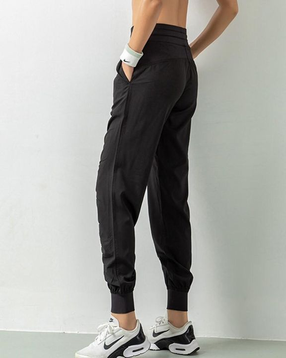 Quick Dry Drawstring Waist Ruched Front Sports Pants gallery 7