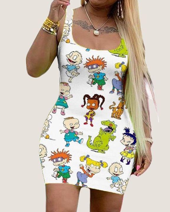 Cartoon Print Square Neck Bodycon Dress gallery 1