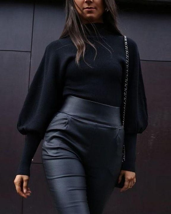 Solid Ribbed Leg-of-mutton Sleeve Sweater gallery 2