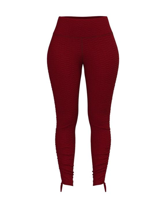 Knot Side Textured Wide Waistband Sports Leggings gallery 4