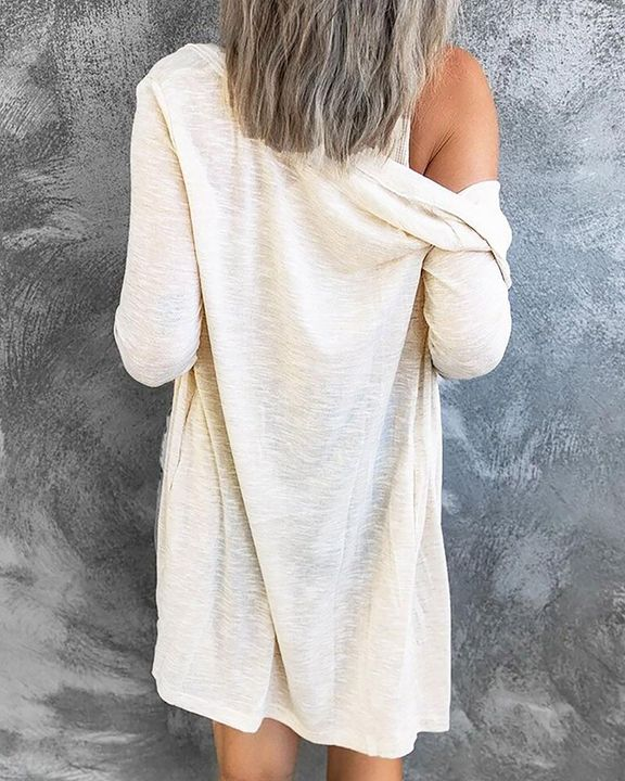 Solid Single Breasted Open Front Cardigan gallery 5
