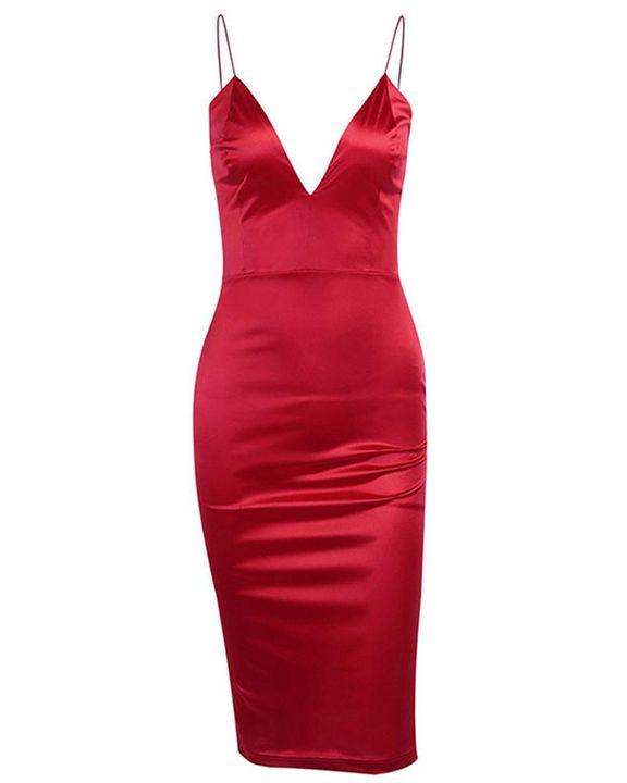 Solid Satin Form Fitting Midi Dress gallery 5