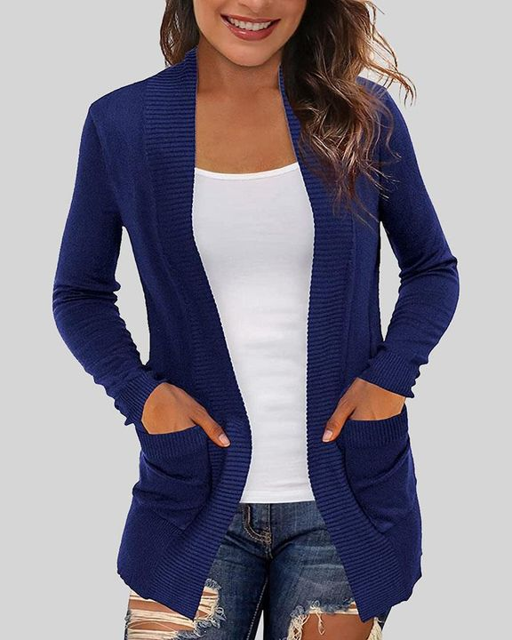 Solid Ribbed Pocket Detail Open Front Cardigan gallery 4