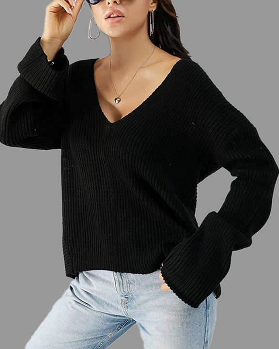Solid Ribbed Knit Drop Shoulder Sweater gallery 1