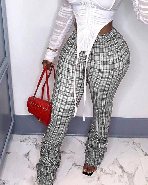 Plaid Print Pocket Detail High Waist Stacked Pants gallery 2