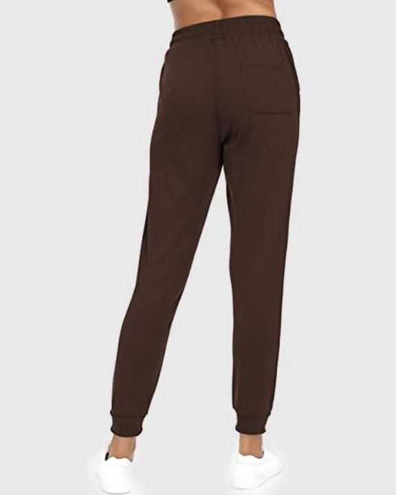 Solid Drawstring Front Pocket Detail Sports Pants gallery 17