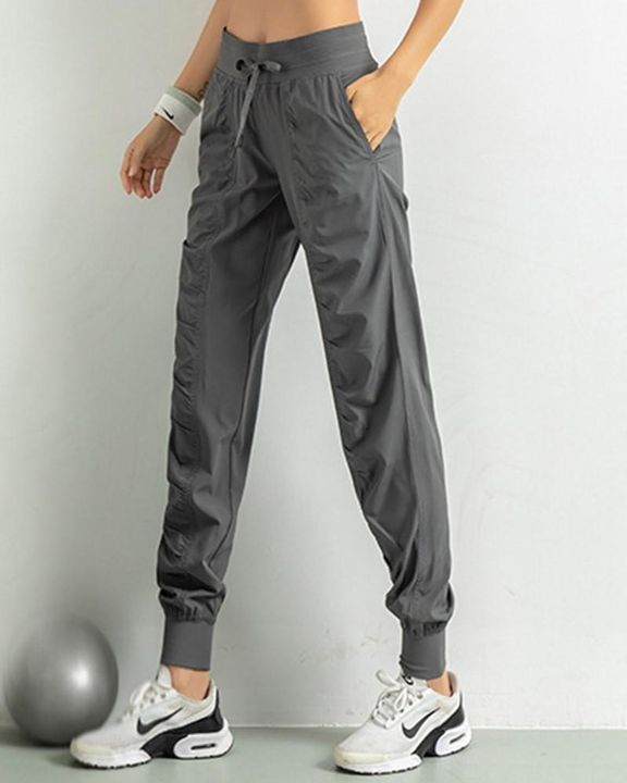 Quick Dry Drawstring Waist Ruched Front Sports Pants gallery 16