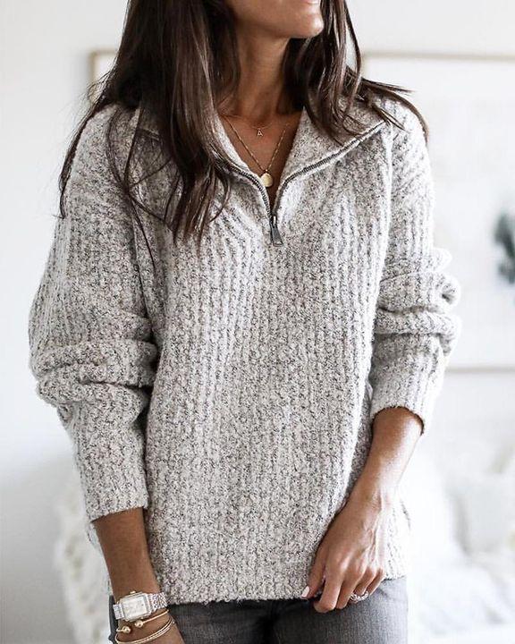 Fuzzy Knit Half Zip Drop Shoulder Sweater gallery 4