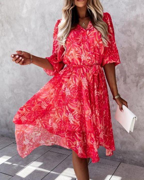 Allover Print Button Front Belted Frill Trim Asymmetrical Hem Midi Dress gallery 1