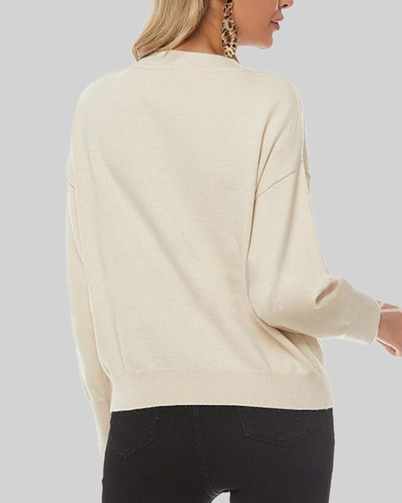 Solid Cutout Asymmetrical V Neck Drop Shoulder Sweater gallery 4
