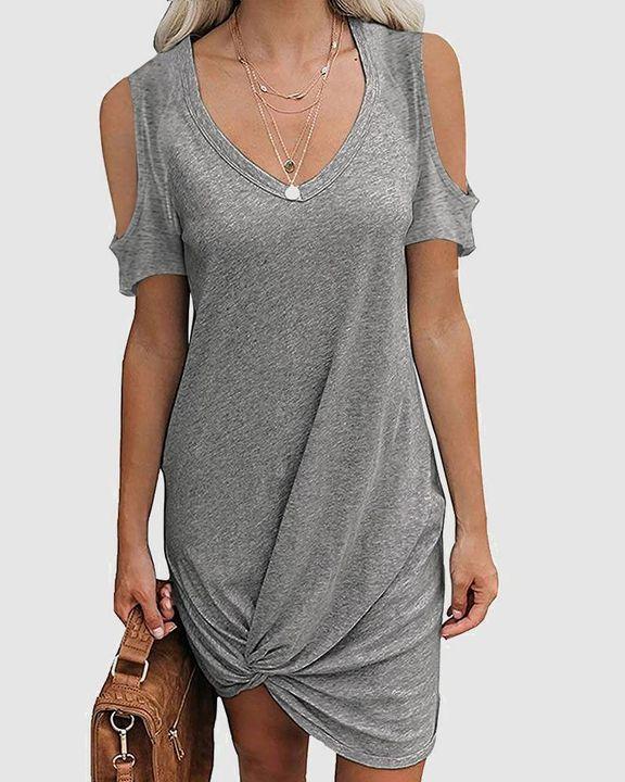 Solid Twist Cold Shoulder Short Dress gallery 5