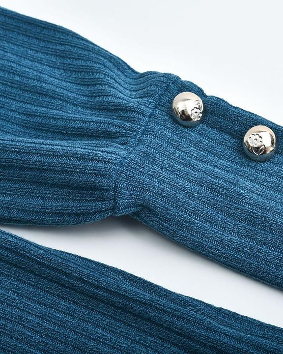 Solid Button Detail Ribbed High Neck Sweater gallery 13