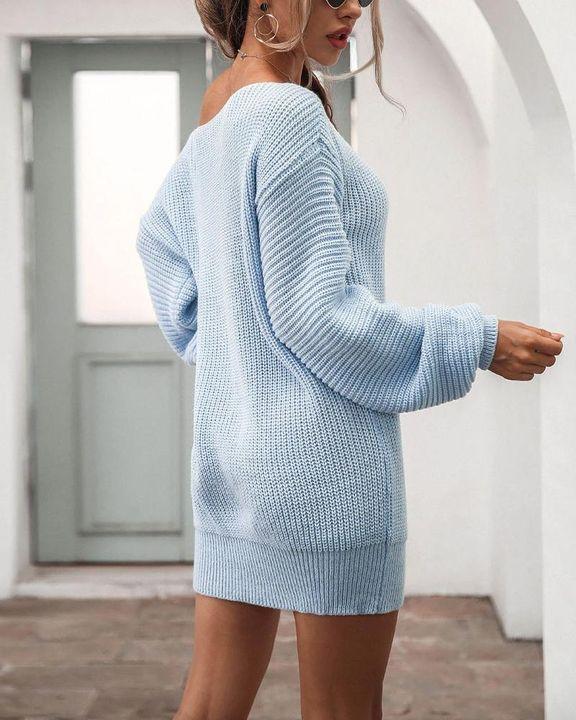 Boat Neck Lantern Sleeve Sweater Dress gallery 5