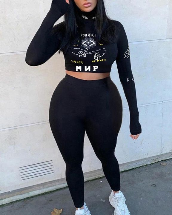 Letter & Graphic Print High Neck Crop Top & Pants Set gallery 1
