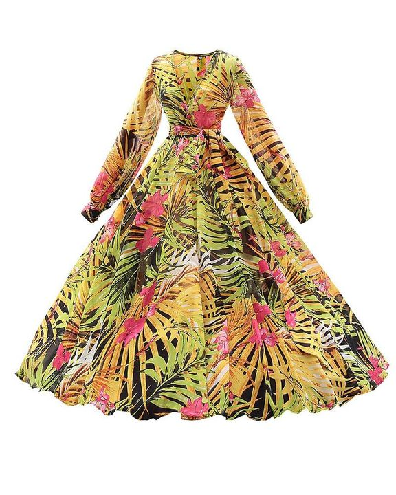 Tropical Print Belted Pleated Surplice Neck Maxi Dress gallery 9