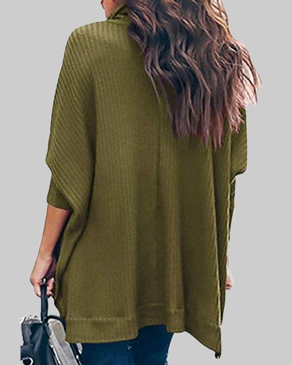 Solid Split Hem High Neck Sweater gallery 9