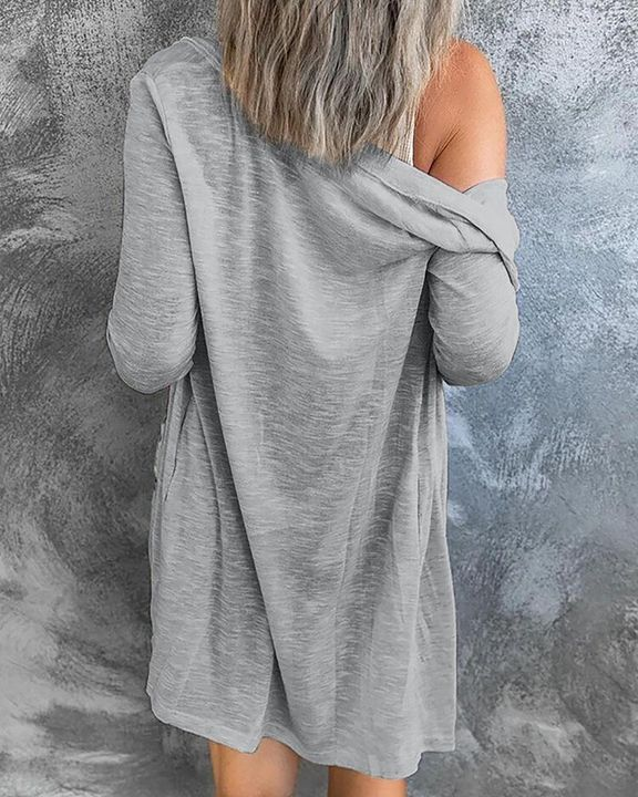 Solid Single Breasted Open Front Cardigan gallery 8