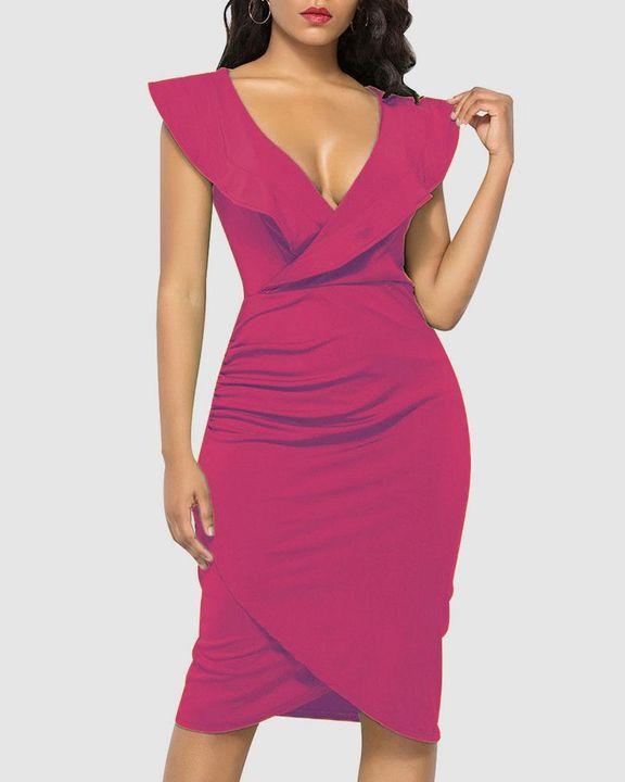 Solid Ruffle Trim Ruched Wrap Asymmetrical Hem Knee Length Dress gallery 3